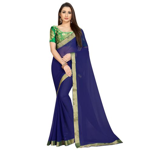 Pleasant Navy Blue-Green Colored Partywear Chiffon Saree