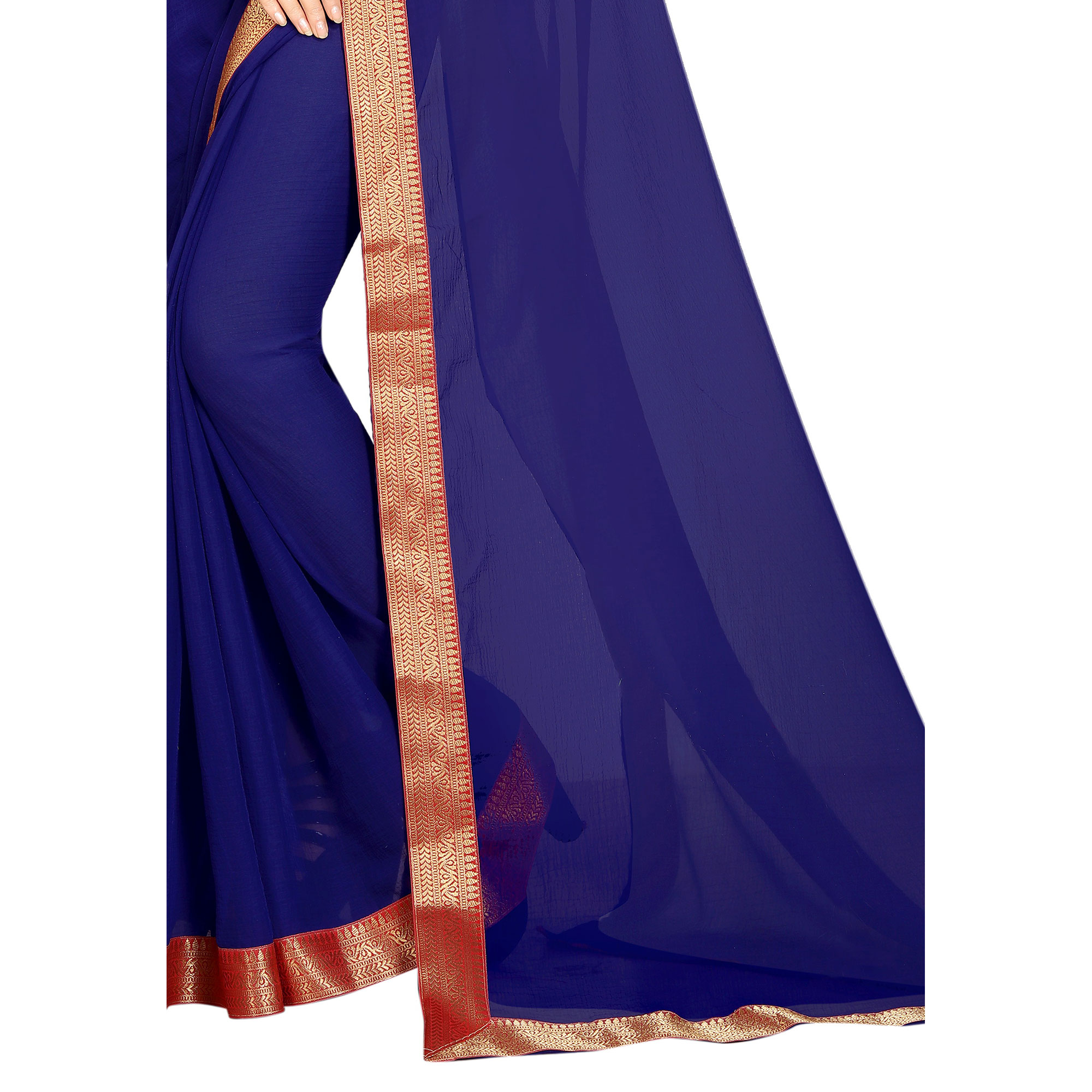 Opulent Navy Blue-Red Colored Partywear Chiffon Saree