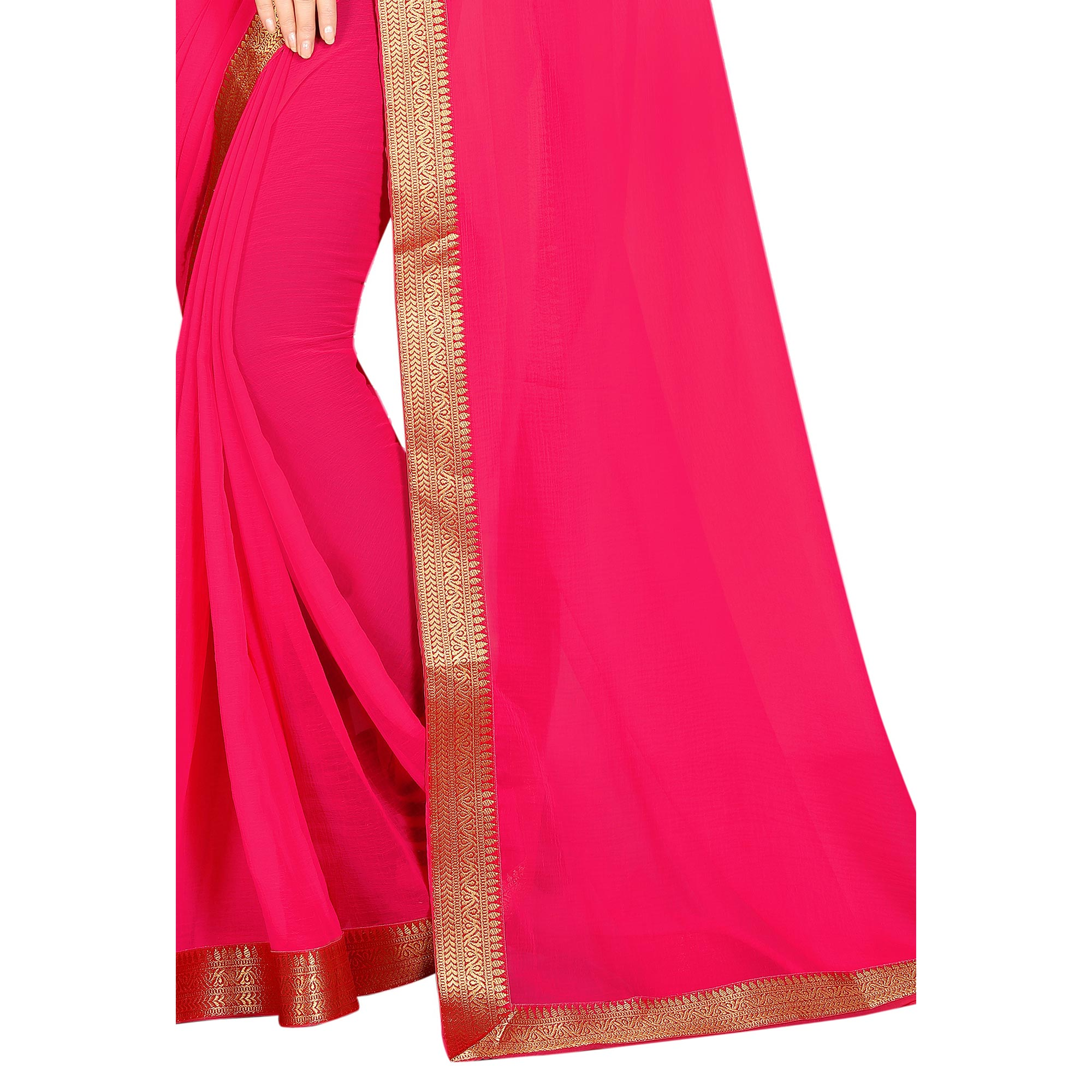 Glowing Pink Colored Partywear Chiffon Saree