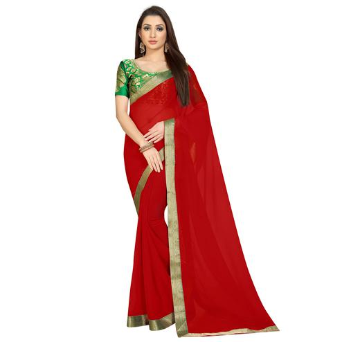 Exceptional Red Colored Partywear Chiffon Saree