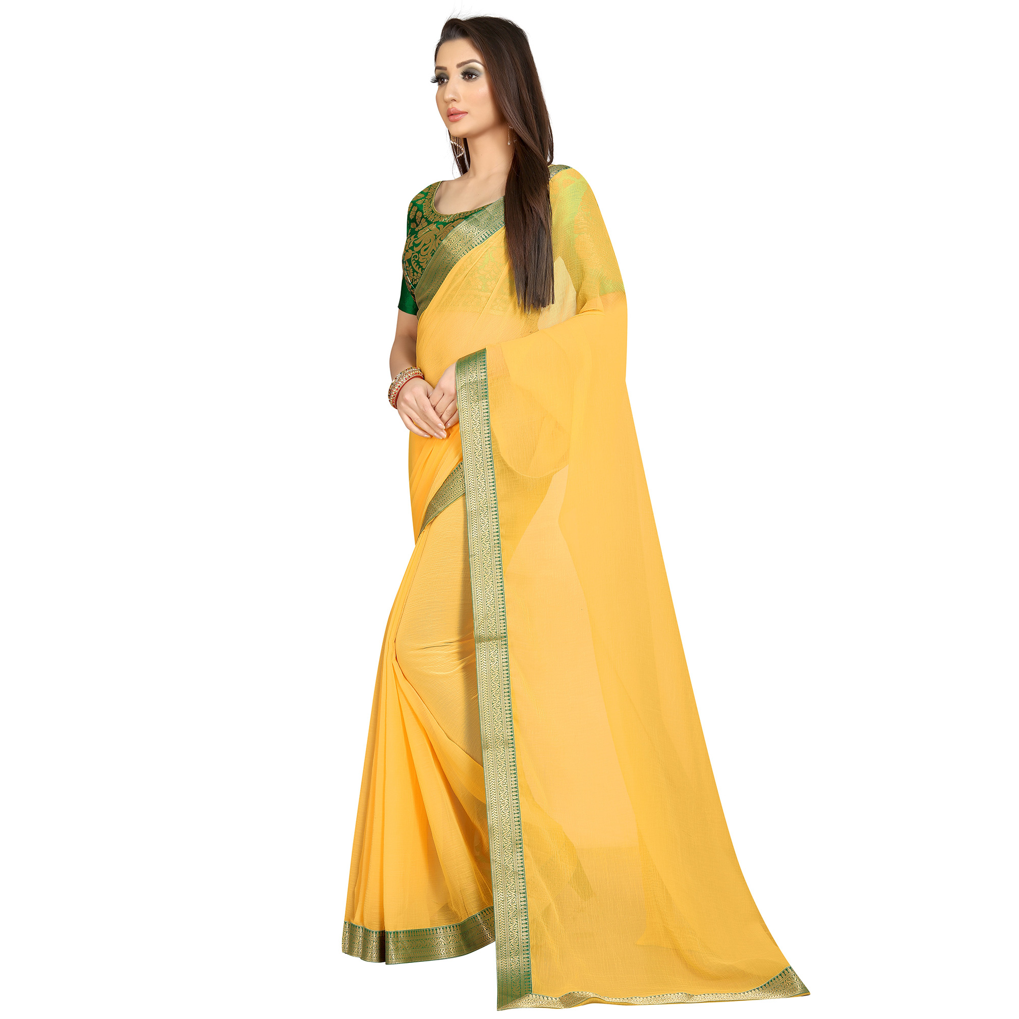 Gleaming Yellow-Green Colored Partywear Chiffon Saree
