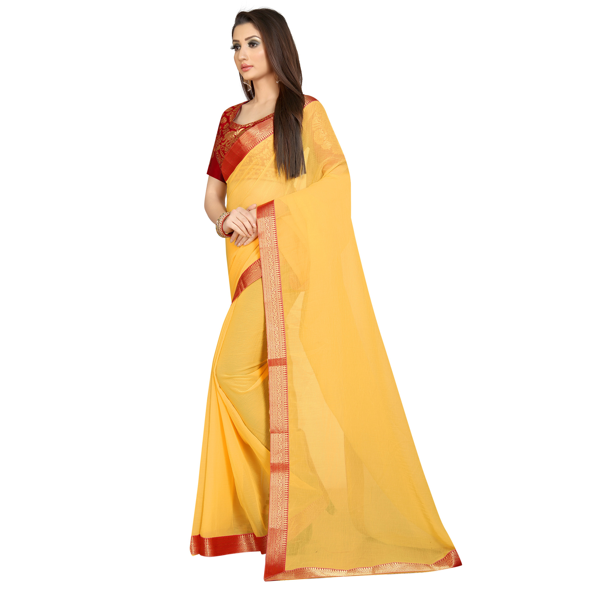 Mesmeric Yellow-Red Colored Partywear Chiffon Saree