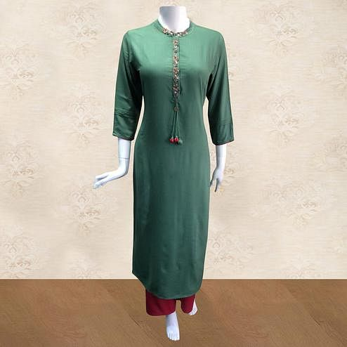 Staring Green Colored Partywear Floral Handwork Cotton Kurti-Palazzo Set