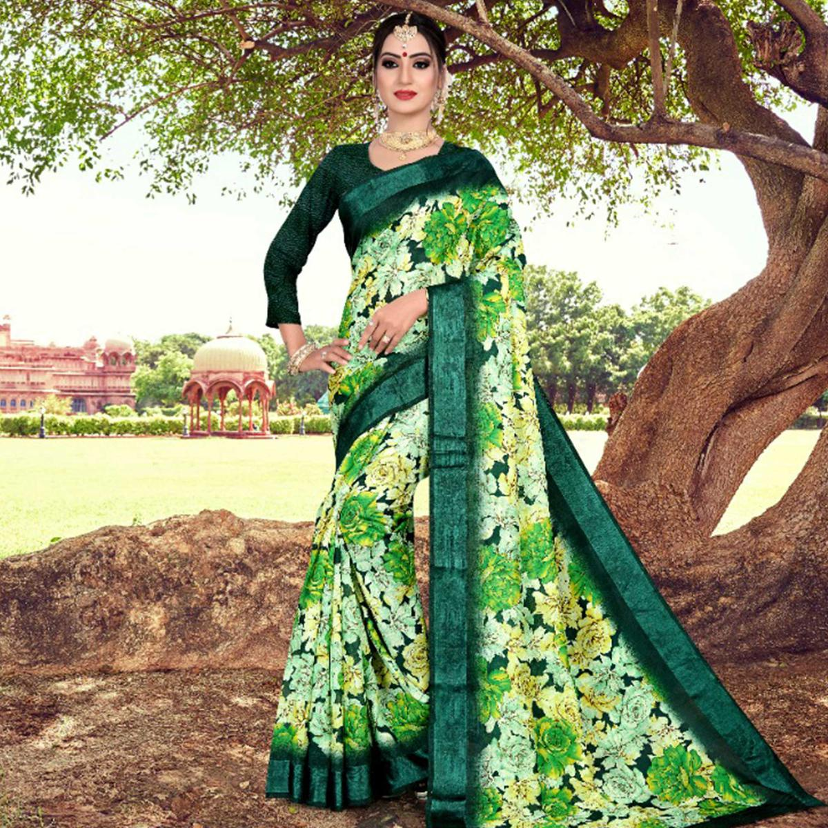 Energetic Green Colored Casual Printed Cotton Saree