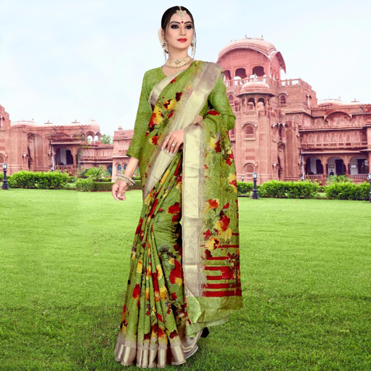 Exclusive Olive Green Colored Casual Printed Cotton Saree