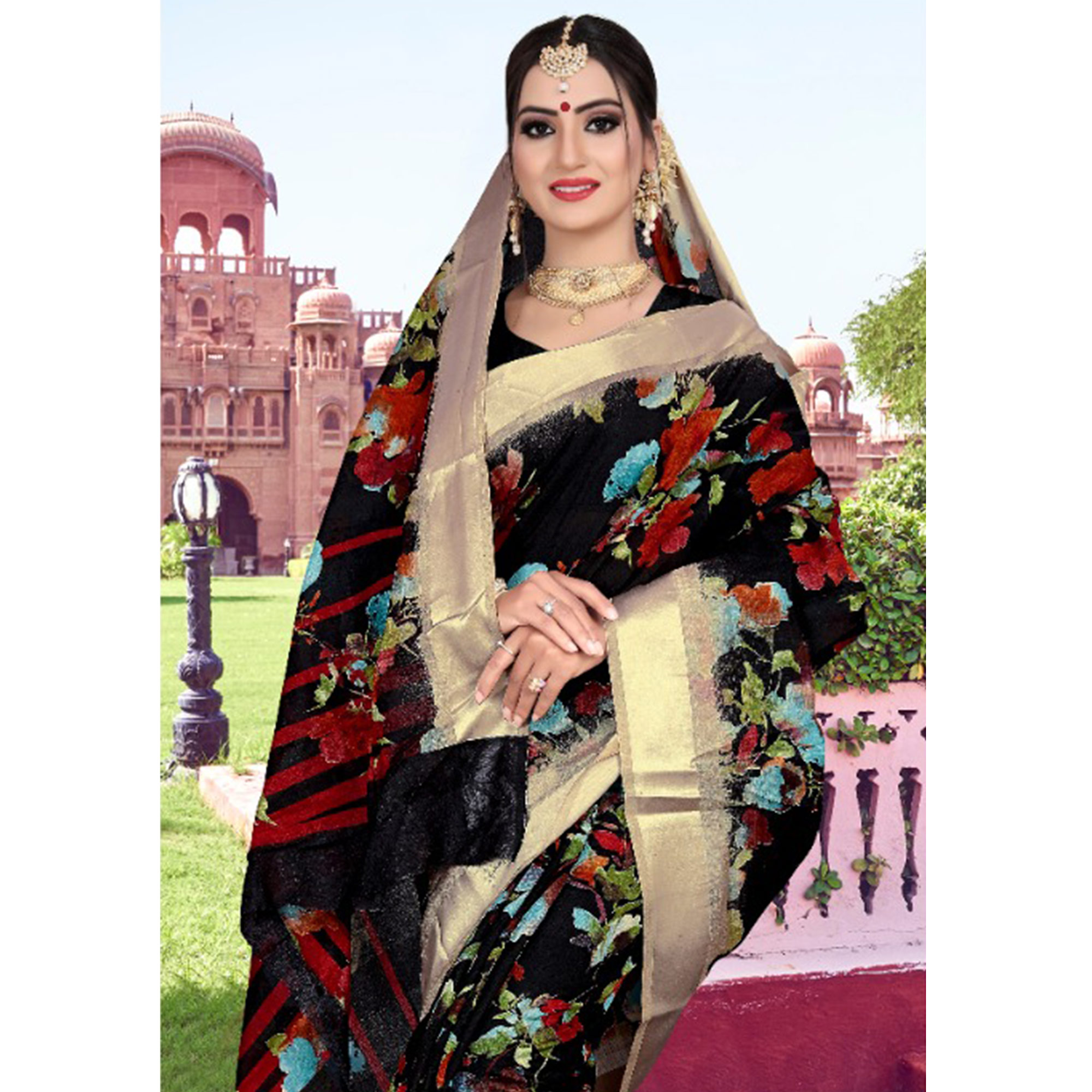 Appealing Black Colored Casual Printed Cotton Saree
