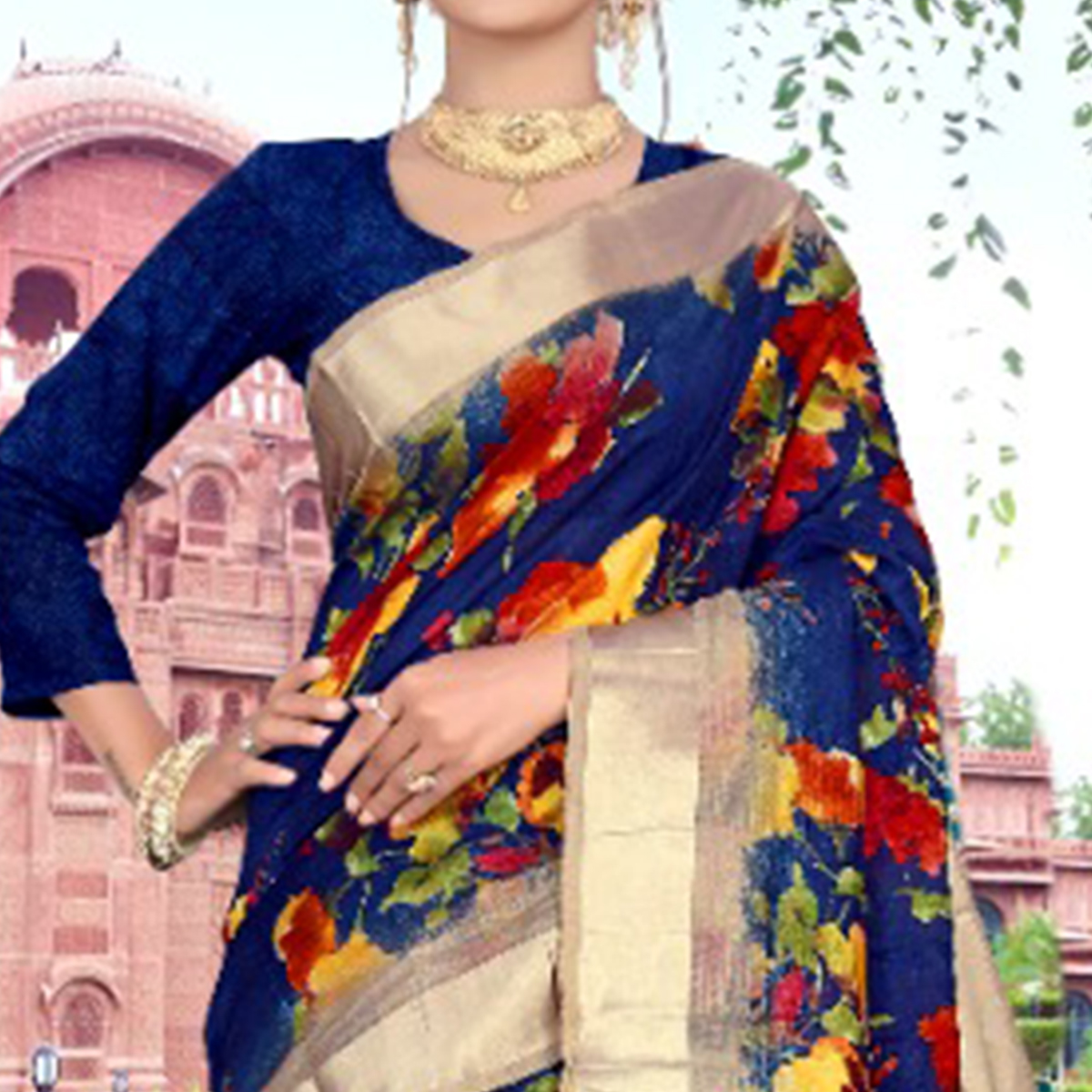 Classy Royal Blue Colored Casual Printed Cotton Saree