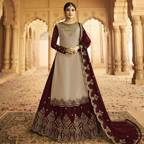 Desirable Grey Colored Partywear Embroidered Georgette Satin Lehenga Kameez