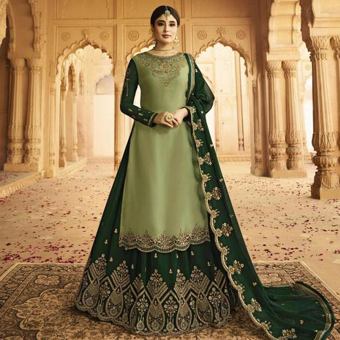 Exotic Green Colored Partywear Embroidered Georgette Satin Lehenga Kameez
