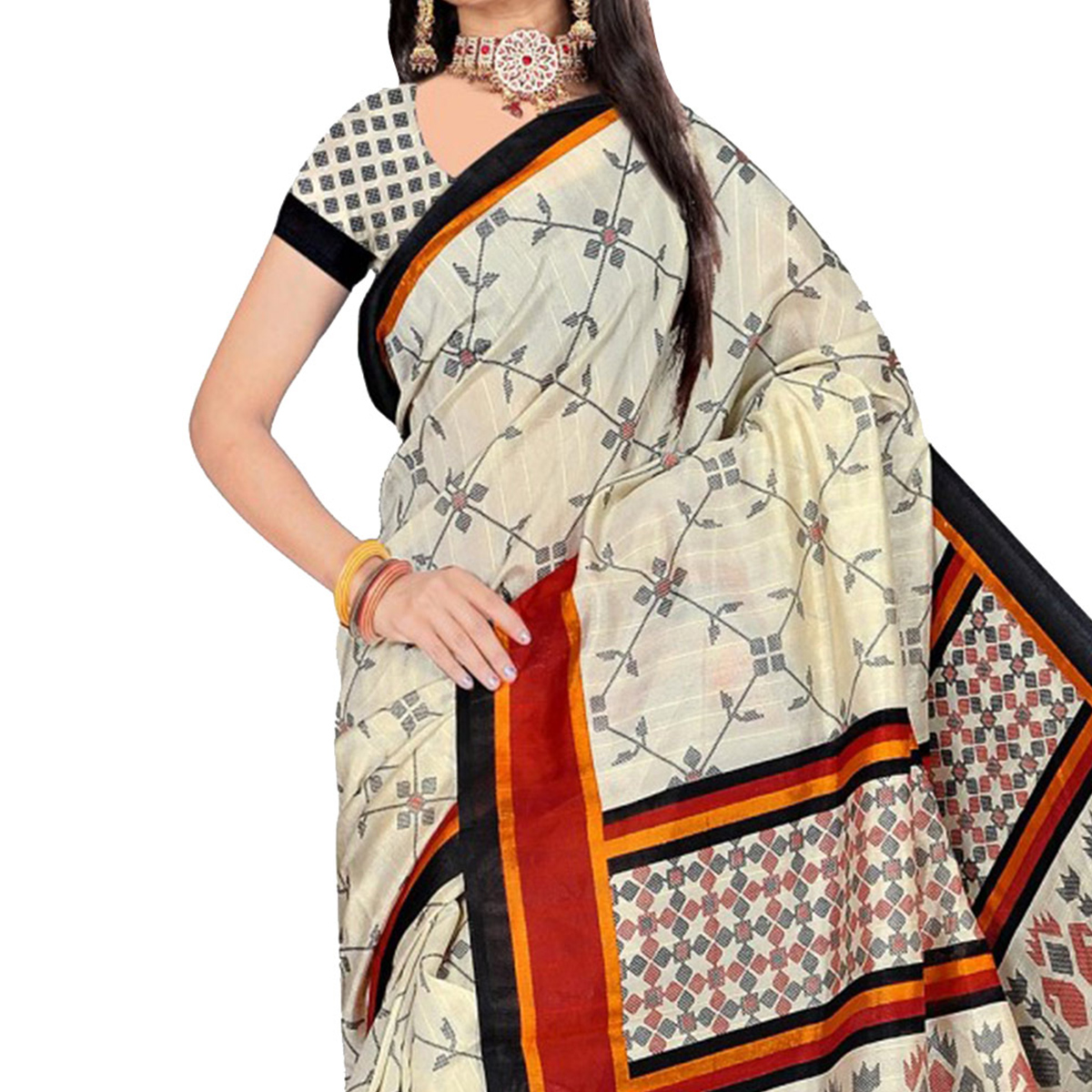 Cream Casual Wear Bhagalpuri Saree