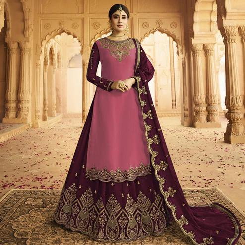 Sophisticated Pink Colored Partywear Embroidered Georgette Satin Lehenga Kameez