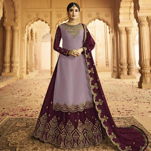 Trendy Purple Colored Partywear Embroidered Georgette Satin Lehenga Kameez
