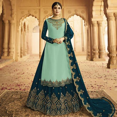 Elegant Sky Blue Colored Partywear Embroidered Georgette Satin Lehenga Kameez