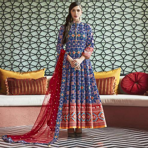 Flirty Blue Colored Partywear Embroidered Silk Anarkali Suit