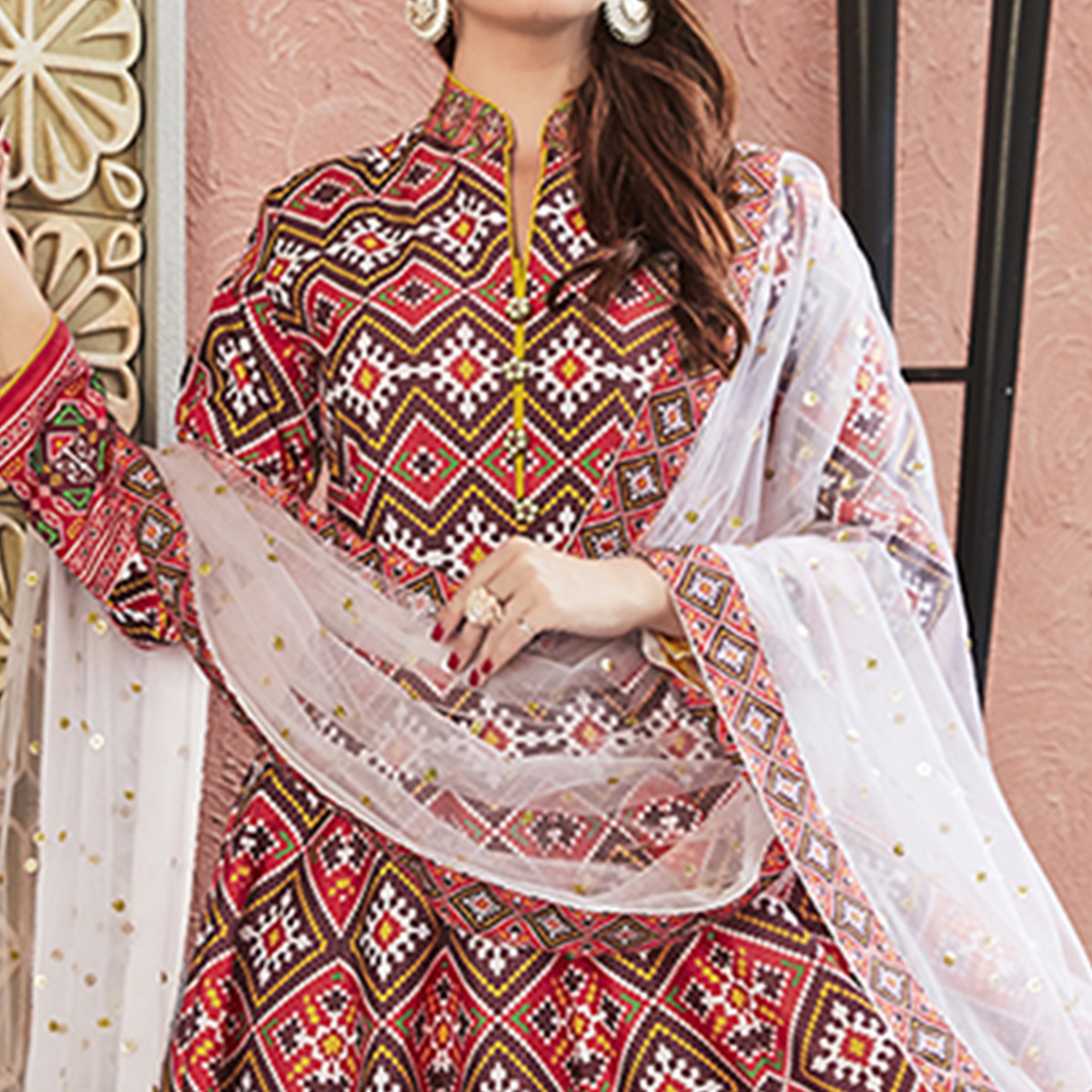 Stunning Red Colored Partywear Embroidered Silk Anarkali Suit