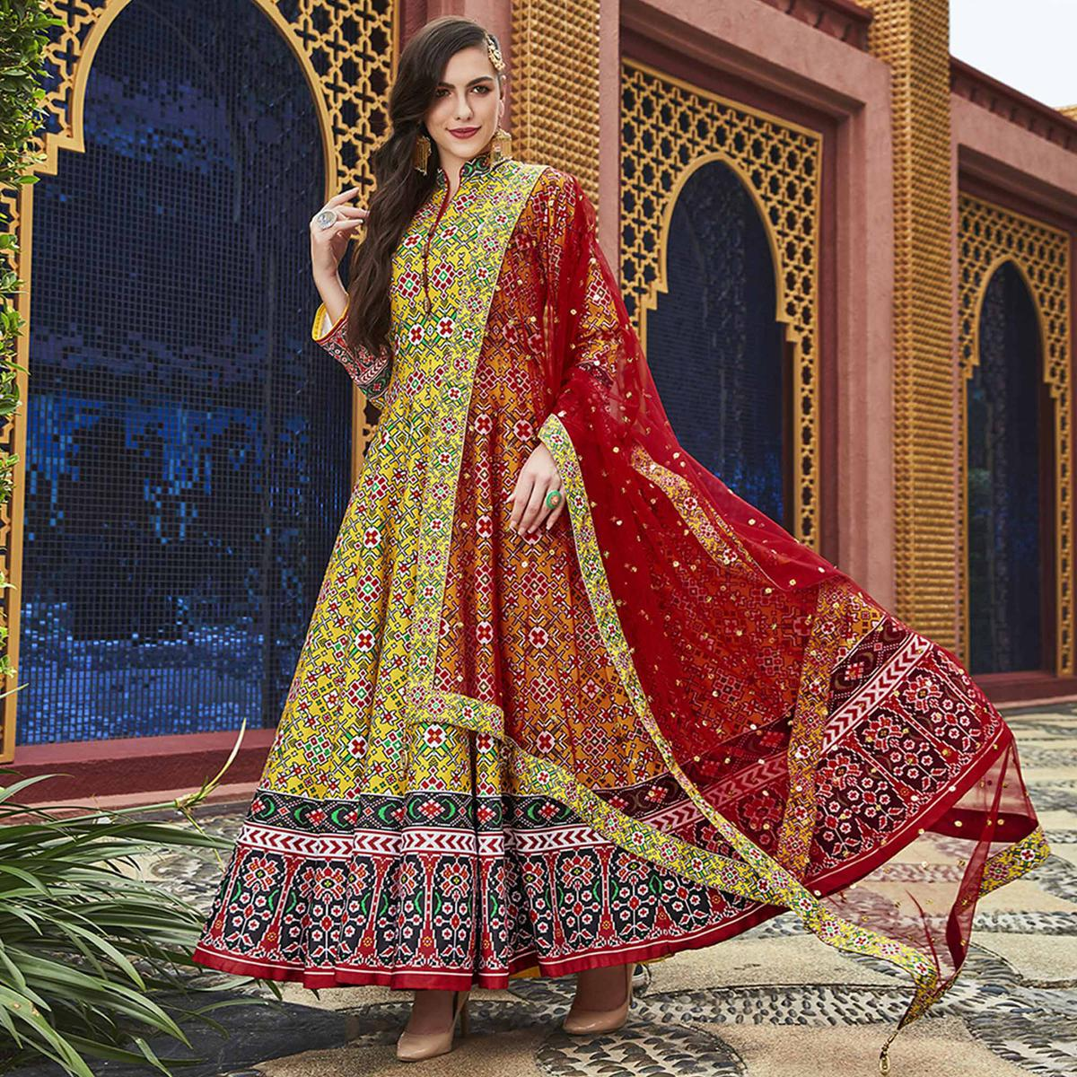 Surpassing Yellow Colored Partywear Embroidered Silk Anarkali Suit