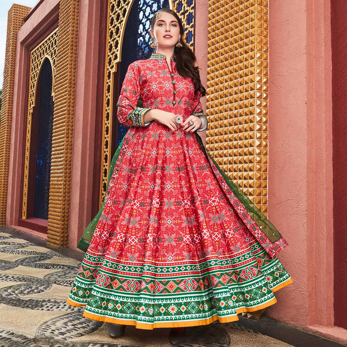 Dazzling Coral Red Colored Partywear Embroidered Silk Anarkali Suit