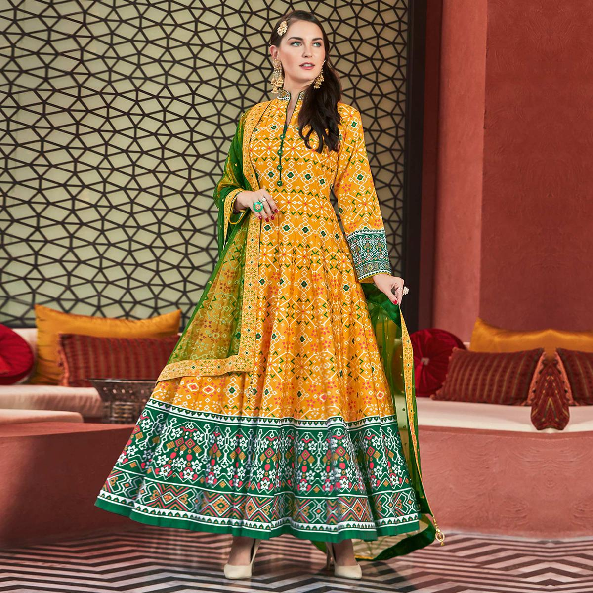 Breathtaking Yellow Colored Partywear Embroidered Silk Anarkali Suit