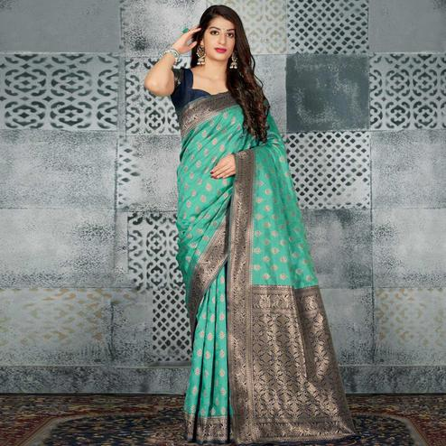 Intricate Turquoise Green Colored Festive Wear Woven Banarasi Silk Saree