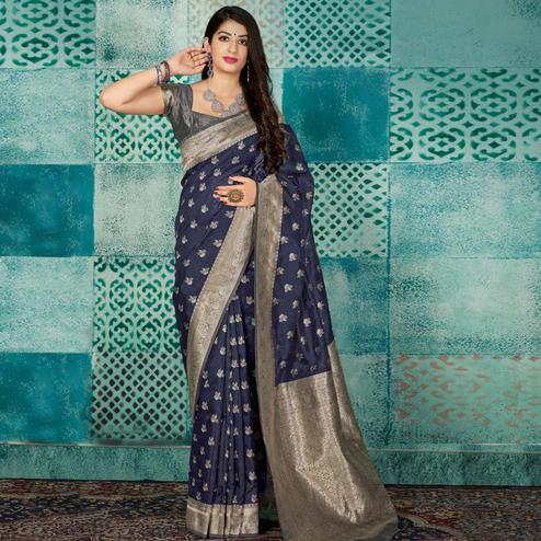 Arresting Navy Blue Colored Festive Wear Woven Banarasi Silk Saree