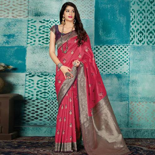 Desirable Red Colored Festive Wear Woven Banarasi Silk Saree