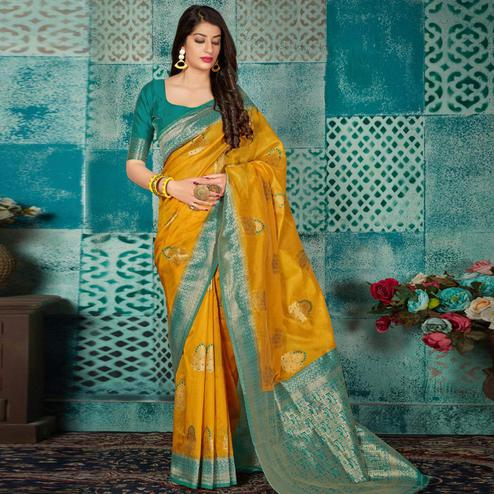 Exotic Yellow Colored Festive Wear Woven Banarasi Silk Saree