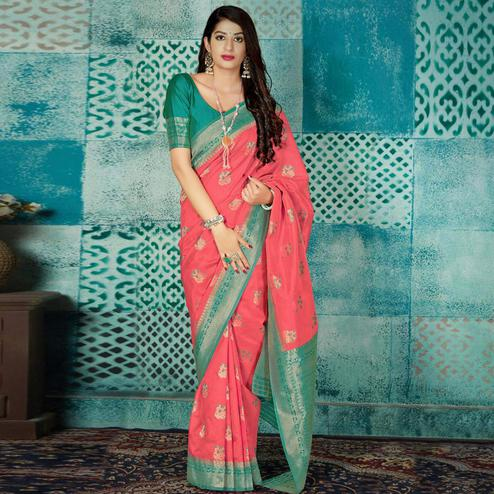 Trendy Pink Colored Festive Wear Woven Banarasi Silk Saree