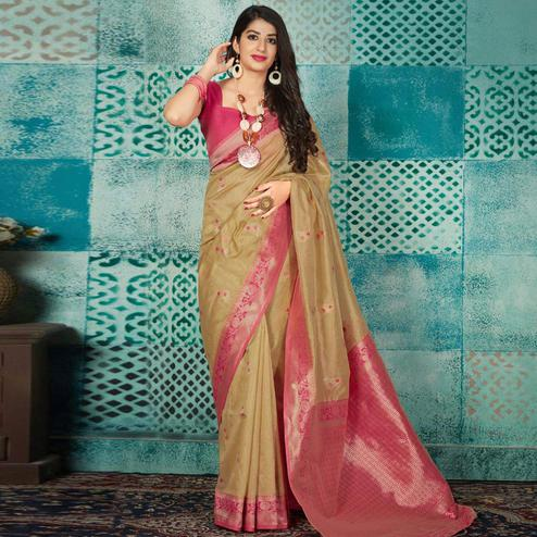 Radiant Beige Colored Festive Wear Woven Banarasi Silk Saree