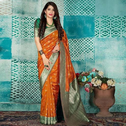 Pleasant Orange Colored Festive Wear Woven Banarasi Silk Saree
