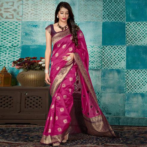 Opulent Rani Pink Colored Festive Wear Woven Banarasi Silk Saree