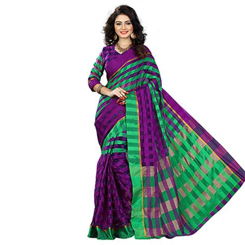 Purple - Green Printed Silk Saree
