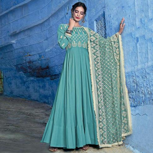 Flattering Sky Blue Colored Partywear Lakhnavi Embroidered Stitched Cotton Anarkali Suit
