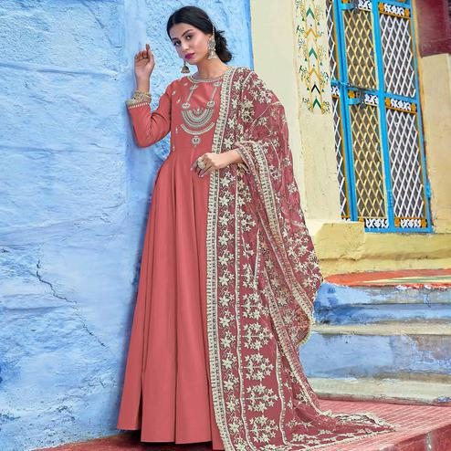 Excellent Pink Colored Partywear Lakhnavi Embroidered Stitched Cotton Anarkali Suit