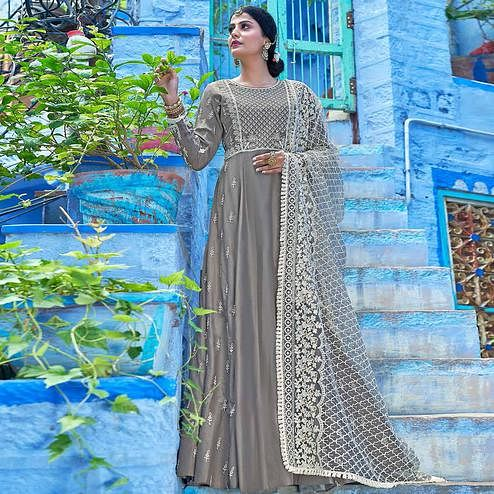Preferable Grey Colored Partywear Lakhnavi Embroidered Stitched Cotton Anarkali Suit
