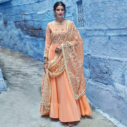 Marvellous Peach Colored Partywear Lakhnavi Embroidered Stitched Cotton Anarkali Suit