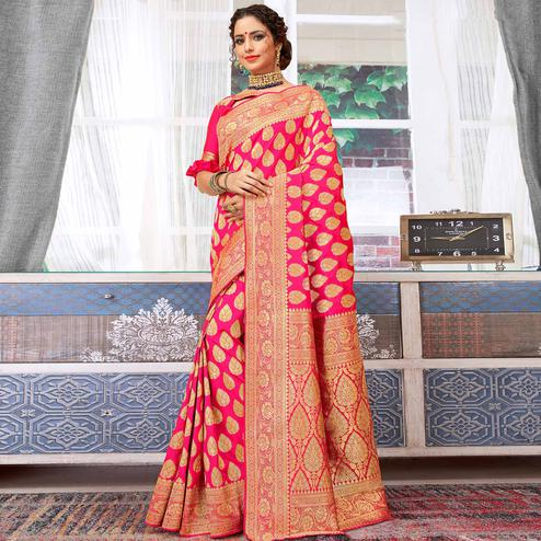 Appealing Fuchsia Pink Colored Festive Wear Woven Silk Saree