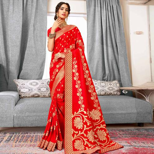 Exclusive Red Colored Festive Wear Woven Silk Saree