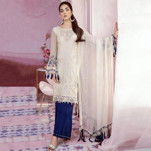 Intricate White-Blue Colored Party Wear Embroidered Georgette Palazzo Suit