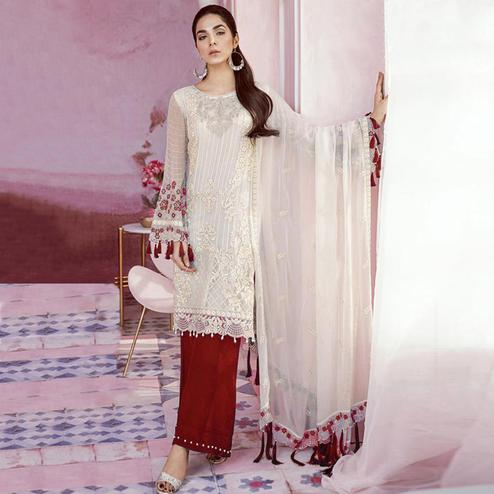 Arresting White-Red Colored Party Wear Embroidered Georgette Palazzo Suit