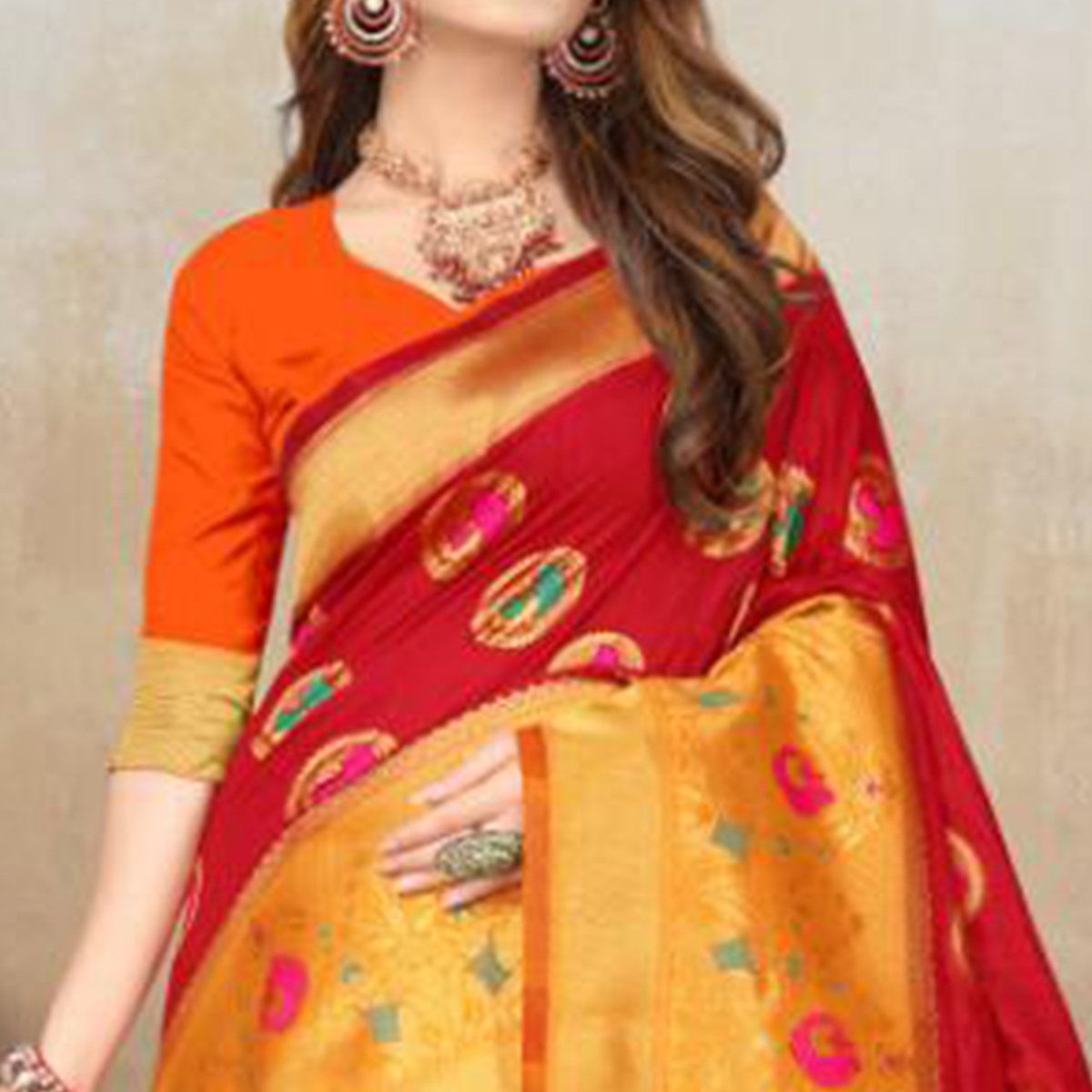 Jazzy Red Colored Festive Wear Woven Raw Silk Saree With Tassels