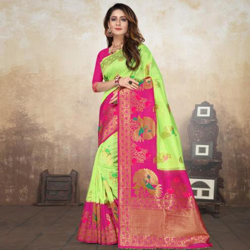 Delightful Light Green Colored Festive Wear Woven Raw Silk Saree With Tassels