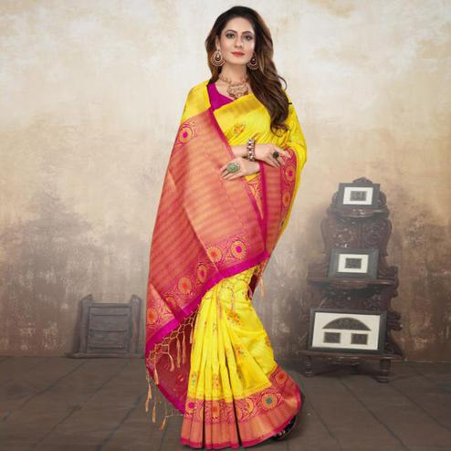Elegant Yellow Colored Festive Wear Woven Raw Silk Saree With Tassels