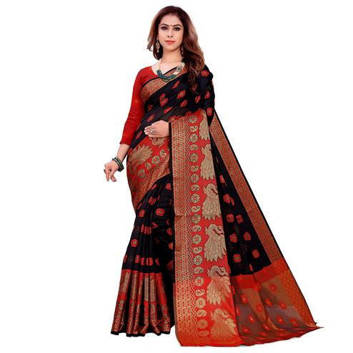 Magnetic Black Colored Festive Wear Woven Art Silk Saree