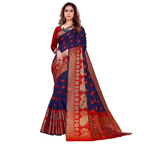 Flattering Navy Blue Colored Festive Wear Woven Art Silk Saree