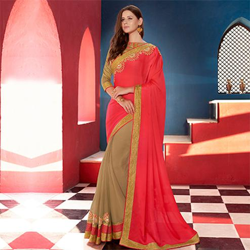 Beige - Red Half & Half Saree