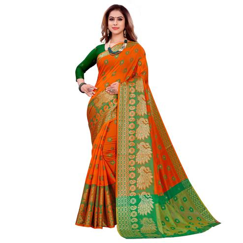 Excellent Orange Colored Festive Wear Woven Art Silk Saree