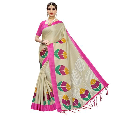 Ideal Mesmerising Beige-Pink Colored Festive Wear Leaf Printed Art Silk Saree With Tassel
