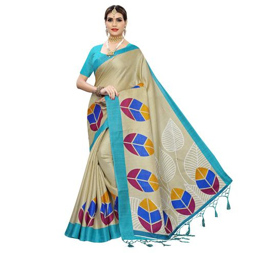 Impressive Beige-Blue Colored Festive Wear Leaf Printed Art Silk Saree With Tassel