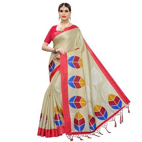 Majesty Beige-Red Colored Festive Wear Leaf Printed Art Silk Saree With Tassel