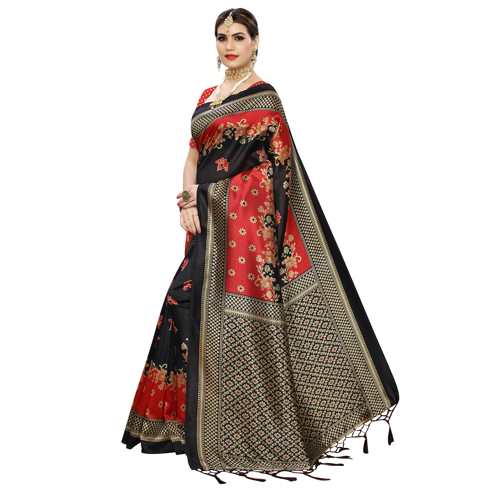 Fantastic Black Colored Festive Wear Floral Printed Art Silk Saree With Tassel